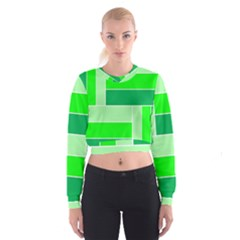 Green Shades Geometric Quad Women s Cropped Sweatshirt