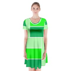 Green Shades Geometric Quad Short Sleeve V-neck Flare Dress