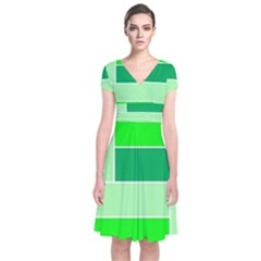 Green Shades Geometric Quad Short Sleeve Front Wrap Dress