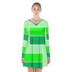 Green Shades Geometric Quad Long Sleeve Velvet V Neck Dress