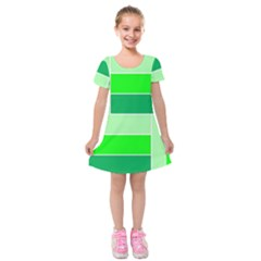 Green Shades Geometric Quad Kids  Short Sleeve Velvet Dress