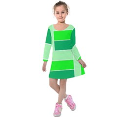 Green Shades Geometric Quad Kids  Long Sleeve Velvet Dress