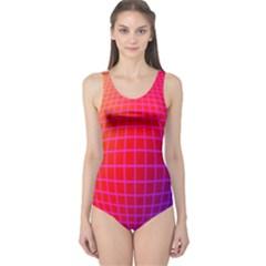 Grid Diamonds Figure Abstract One Piece Swimsuit