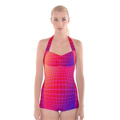 Grid Diamonds Figure Abstract Boyleg Halter Swimsuit