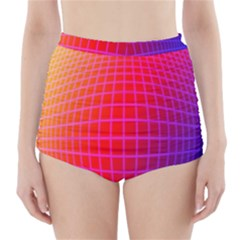 Grid Diamonds Figure Abstract High-Waisted Bikini Bottoms