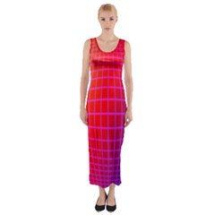 Grid Diamonds Figure Abstract Fitted Maxi Dress