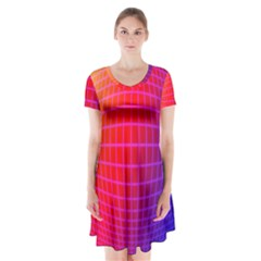 Grid Diamonds Figure Abstract Short Sleeve V-neck Flare Dress
