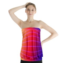Grid Diamonds Figure Abstract Strapless Top