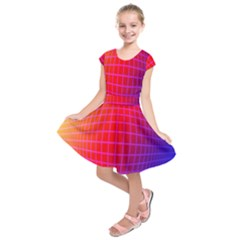 Grid Diamonds Figure Abstract Kids  Short Sleeve Dress