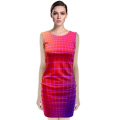 Grid Diamonds Figure Abstract Sleeveless Velvet Midi Dress