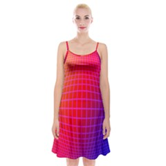 Grid Diamonds Figure Abstract Spaghetti Strap Velvet Dress