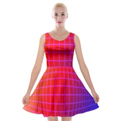 Grid Diamonds Figure Abstract Velvet Skater Dress