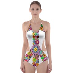 Groovy Flower Clip Art Cut-Out One Piece Swimsuit
