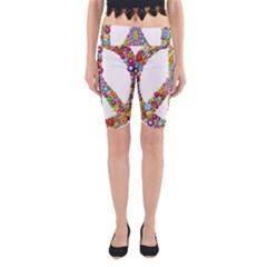 Groovy Flower Clip Art Yoga Cropped Leggings