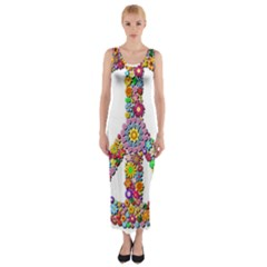 Groovy Flower Clip Art Fitted Maxi Dress