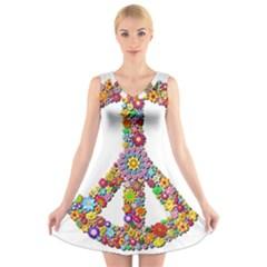 Groovy Flower Clip Art V-Neck Sleeveless Skater Dress
