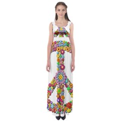 Groovy Flower Clip Art Empire Waist Maxi Dress