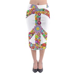 Groovy Flower Clip Art Midi Pencil Skirt