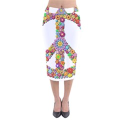 Groovy Flower Clip Art Velvet Midi Pencil Skirt