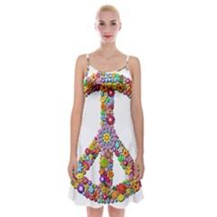 Groovy Flower Clip Art Spaghetti Strap Velvet Dress