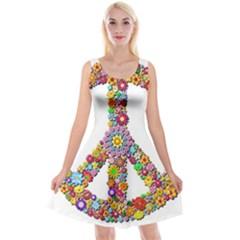 Groovy Flower Clip Art Reversible Velvet Sleeveless Dress