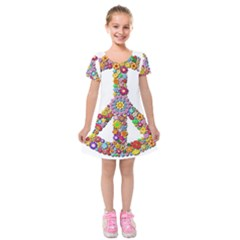 Groovy Flower Clip Art Kids  Short Sleeve Velvet Dress