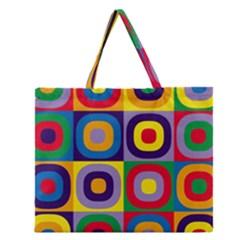 Kandinsky Circles Zipper Large Tote Bag