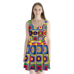 Kandinsky Circles Split Back Mini Dress