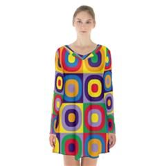 Kandinsky Circles Long Sleeve Velvet V Neck Dress