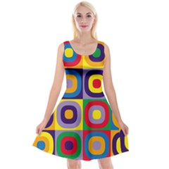 Kandinsky Circles Reversible Velvet Sleeveless Dress