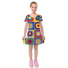 Kandinsky Circles Kids  Short Sleeve Velvet Dress