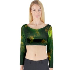 Light Fractal Plants Long Sleeve Crop Top