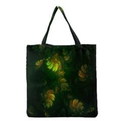 Light Fractal Plants Grocery Tote Bag