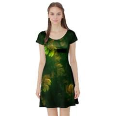 Light Fractal Plants Short Sleeve Skater Dress