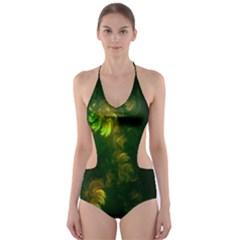 Light Fractal Plants Cut-Out One Piece Swimsuit