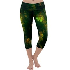 Light Fractal Plants Capri Yoga Leggings