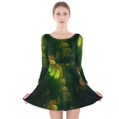 Light Fractal Plants Long Sleeve Velvet Skater Dress