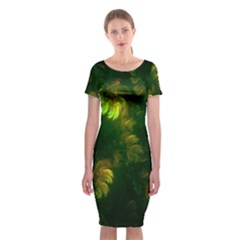 Light Fractal Plants Classic Short Sleeve Midi Dress