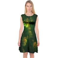 Light Fractal Plants Capsleeve Midi Dress