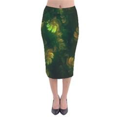 Light Fractal Plants Velvet Midi Pencil Skirt