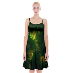 Light Fractal Plants Spaghetti Strap Velvet Dress