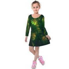 Light Fractal Plants Kids  Long Sleeve Velvet Dress