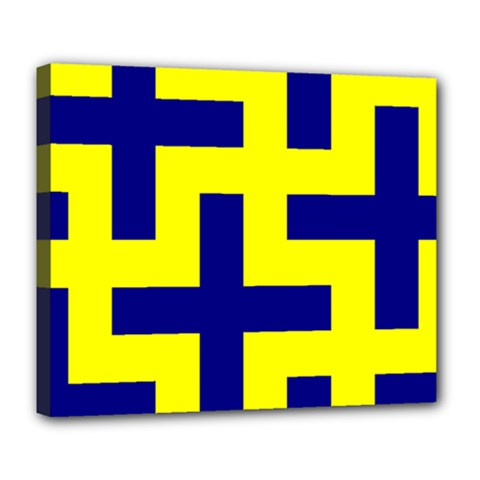 Pattern Blue Yellow Crosses Plus Style Bright Deluxe Canvas 24  x 20