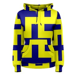 Pattern Blue Yellow Crosses Plus Style Bright Women s Pullover Hoodie