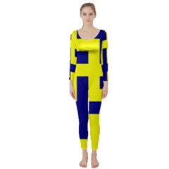 Pattern Blue Yellow Crosses Plus Style Bright Long Sleeve Catsuit
