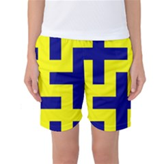 Pattern Blue Yellow Crosses Plus Style Bright Women s Basketball Shorts