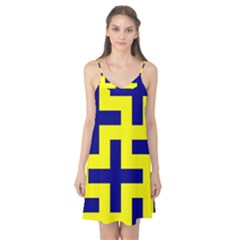 Pattern Blue Yellow Crosses Plus Style Bright Camis Nightgown