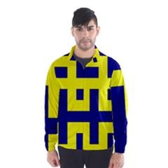 Pattern Blue Yellow Crosses Plus Style Bright Wind Breaker (Men)