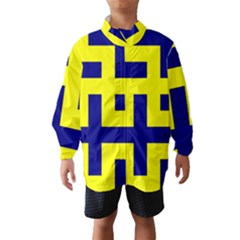 Pattern Blue Yellow Crosses Plus Style Bright Wind Breaker (Kids)