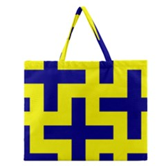 Pattern Blue Yellow Crosses Plus Style Bright Zipper Large Tote Bag